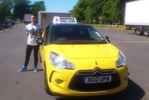Amy passed her B+E test in June 2014