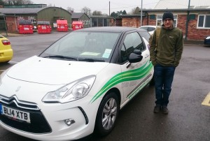 Omar passed his category B+E test in March 2015