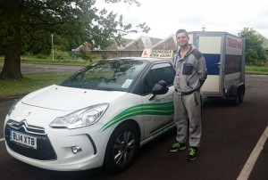 Luke passed his category B+E test in May 2015