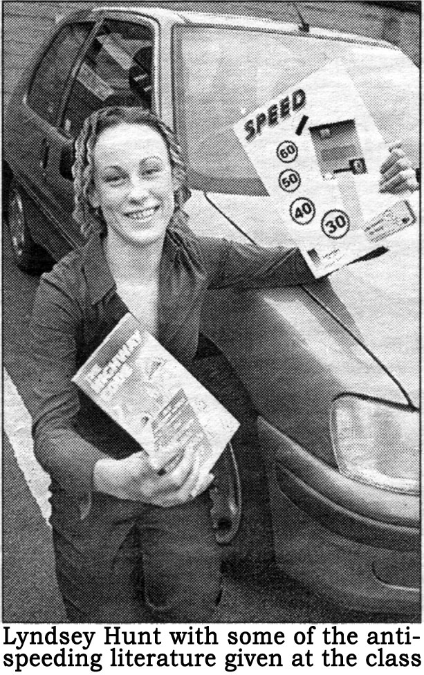 Lyndsey Hunt with some of the anti-speeding literature given at the class.