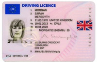 Example valid UK driving licence